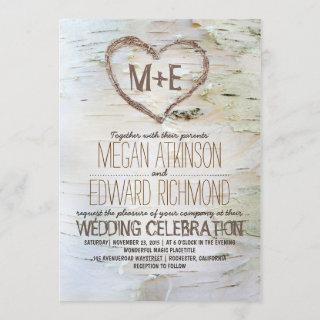 Birch Tree Heart Rustic Fall Wedding Invitation