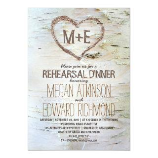 Birch tree heart rustic rehearsal dinner invites