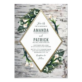 Birch Tree Rustic Calla Lily Wedding Invitations