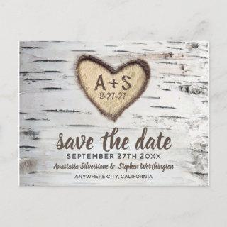 Birch Tree Rustic Country Wedding Save the Date Announcement Postcard