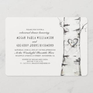 Birch Tree Rustic Rehearsal Dinner Invitation