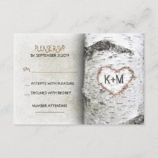 Birch Tree Rustic Wedding RSVP Cards