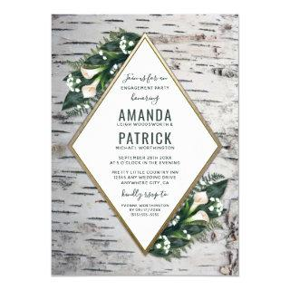 Birch Tree Woodland Engagement Party Invitations