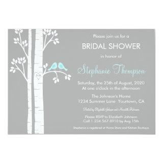 Birch Trees & Love Birds Bridal Shower Invitations
