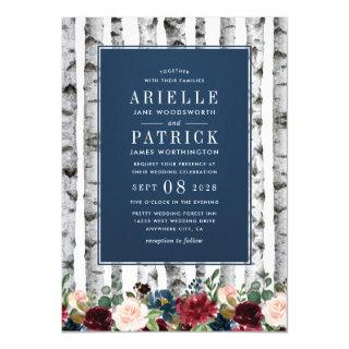 Birch Trees Navy Blue Burgundy Wedding Invitations