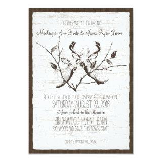 Birch Wood Deer Wedding Invitation