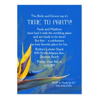 Bird of Paradise Blue Fun Saying Rehearsal Dinner Invitations