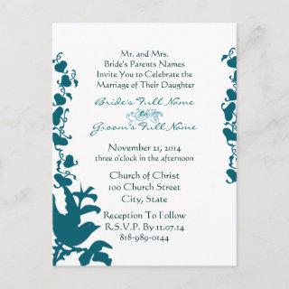 Bird Wedding Invitations Sea Blue Font on White