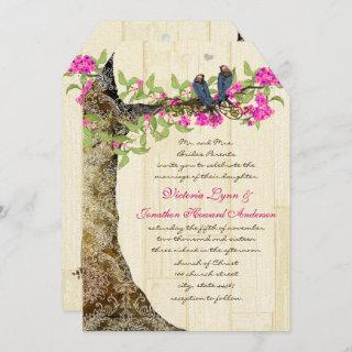 Birdcage Pink Navy Vintage Birds Wedding Damask Invitations