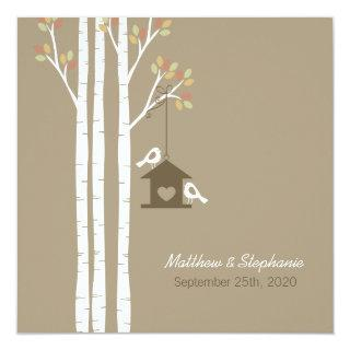 Birdhouse in Autumn Birch Trees Invitation