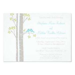 Birds in Birch Trees Wedding Invitation