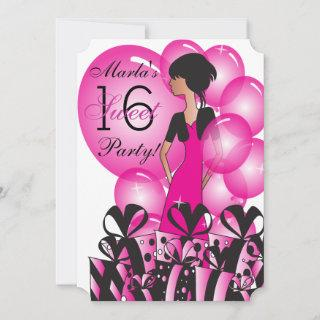 Birthday or Bachelorette Girl in a Hot Pink Invitation