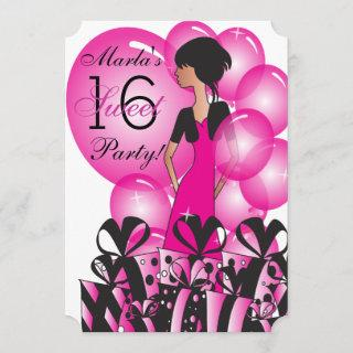 Birthday or Bachelorette Girl in a Hot Pink Invitations