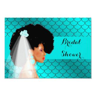Black African American Bridal Shower Invitations
