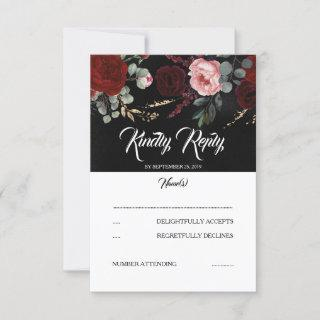 Black and Burgundy Red Floral Wedding RSVP