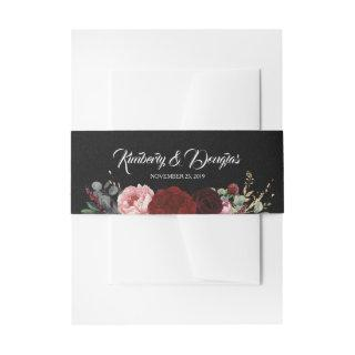 Black and Burgundy Red Florals Wedding Invitation Belly Band