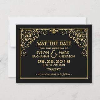 Black and Gold Art Deco Style Wedding Save The Date