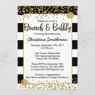 Black and Gold Brunch and Bubbly Invitations
