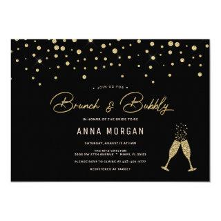 Black and Gold Brunch & Bubbly Invitation