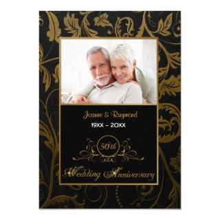 Black and Gold Damask 50th Wedding Anniversary Invitations