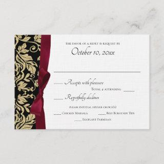 Black and Gold Damask and Burgundy Bow Response