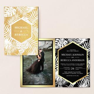 Black and Gold Foil Tropical Palm Wedding Invite