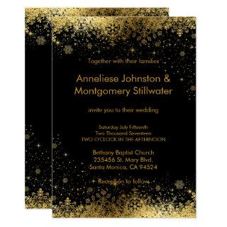 Black and Gold Snowflakes Wedding Invitation