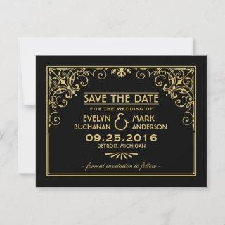 Black and Gold Vintage Art Deco Wedding Save The Date