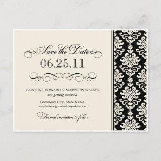 Black and Ivory Elegant Damask Save the Date Announcement Postcard