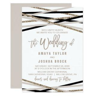 Black and Ivory Streamers The Wedding Of Invitation