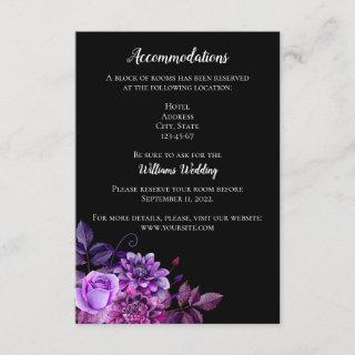Black and purple wedding details. Accommodation Enclosure Card