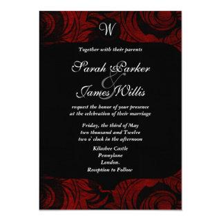 Black and red damask Invitations with monogram