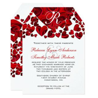 Black and Red Heart Roses Wedding Invitations
