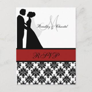 Black and Red Wedding Couple RSVP Card