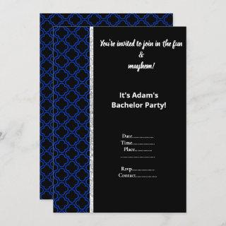 BLACK AND ROYAL BLUE PATTERN BACHELOR PARTY INVITE