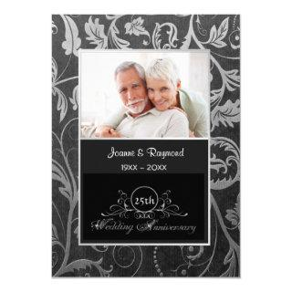 Black and Silver Damask 25th Wedding Anniversary Invitation