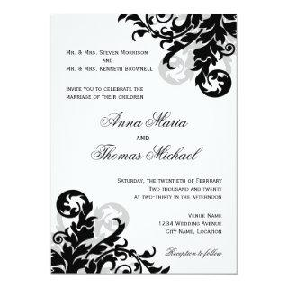 Black and Silver Flourish Wedding Invitation