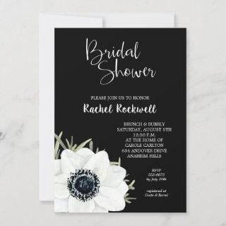 Black and White Anemones Bridal Shower Invites