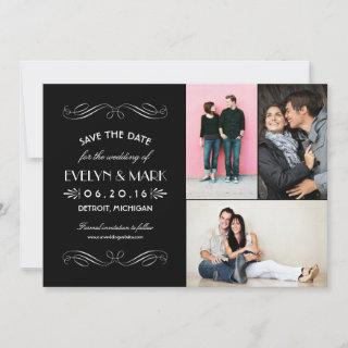 Black and White Art Deco | Wedding Photo Collage Save The Date