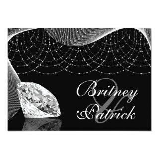 Black and White Bling Diamond Wedding Invitations