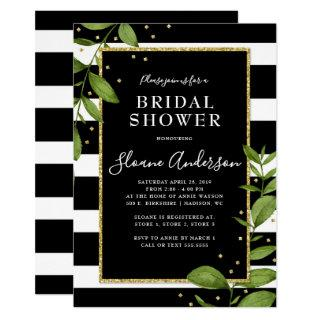 Black and White Botanical Bling Bridal Shower Invitations