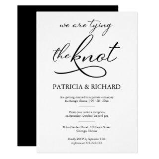 Black And White Calligraphy Elopement Wedding Invitations