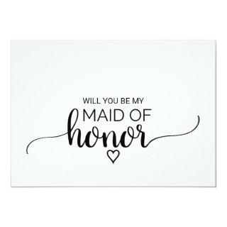 Black and White Calligraphy Maid Of Honor Proposal Invitation