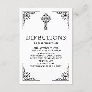 Black and White Celtic Cross Wedding Directions Enclosure Card