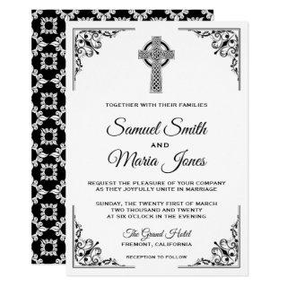 Black and White Celtic Cross Wedding Invitations