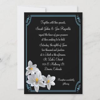 Black and White Daffodil Wedding Invitations