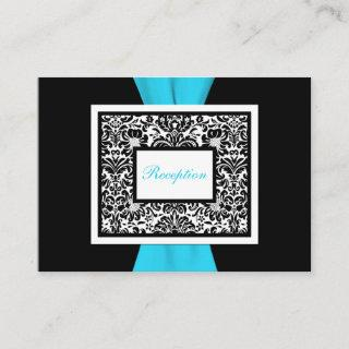 Black and White Damask with Blue Enclosure Card