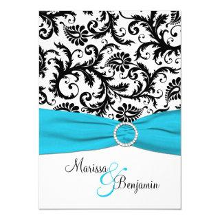 Black and White Damask with Blue Faux Ribbon Invitations