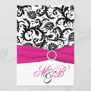 Black and White Damask with Fuchsia Faux Ribbon