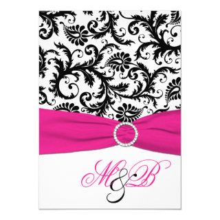 Black and White Damask with Fuchsia Faux Ribbon Invitations